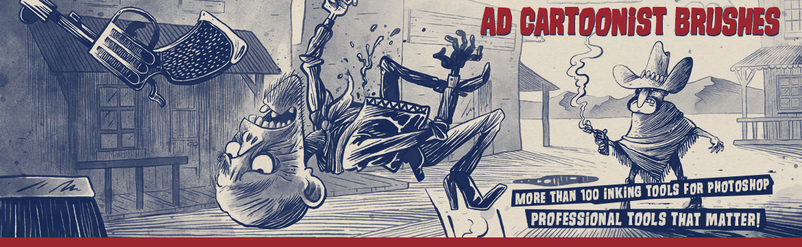 AD Cartoonist Brushes - Inking Tools for Photoshop