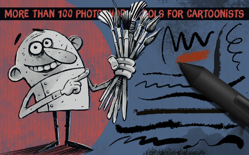 AD Cartoonist Brushes - Amazing inking tools for Photoshop