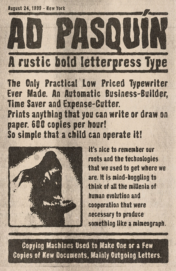 AD Pasquin Type - A rustic bold letterpress Type