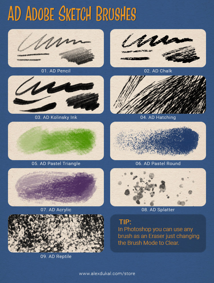 AD Adobe Sketch Free Brushes - Reference Sheet