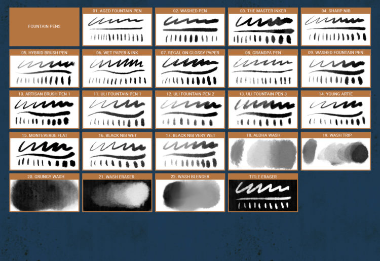 The Cartoonist Brushes - Reference Sheet 07